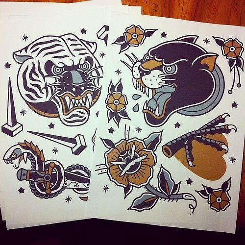 Tiger Tattoo Flash For Sale Tattoo Tattooflash Tattoos