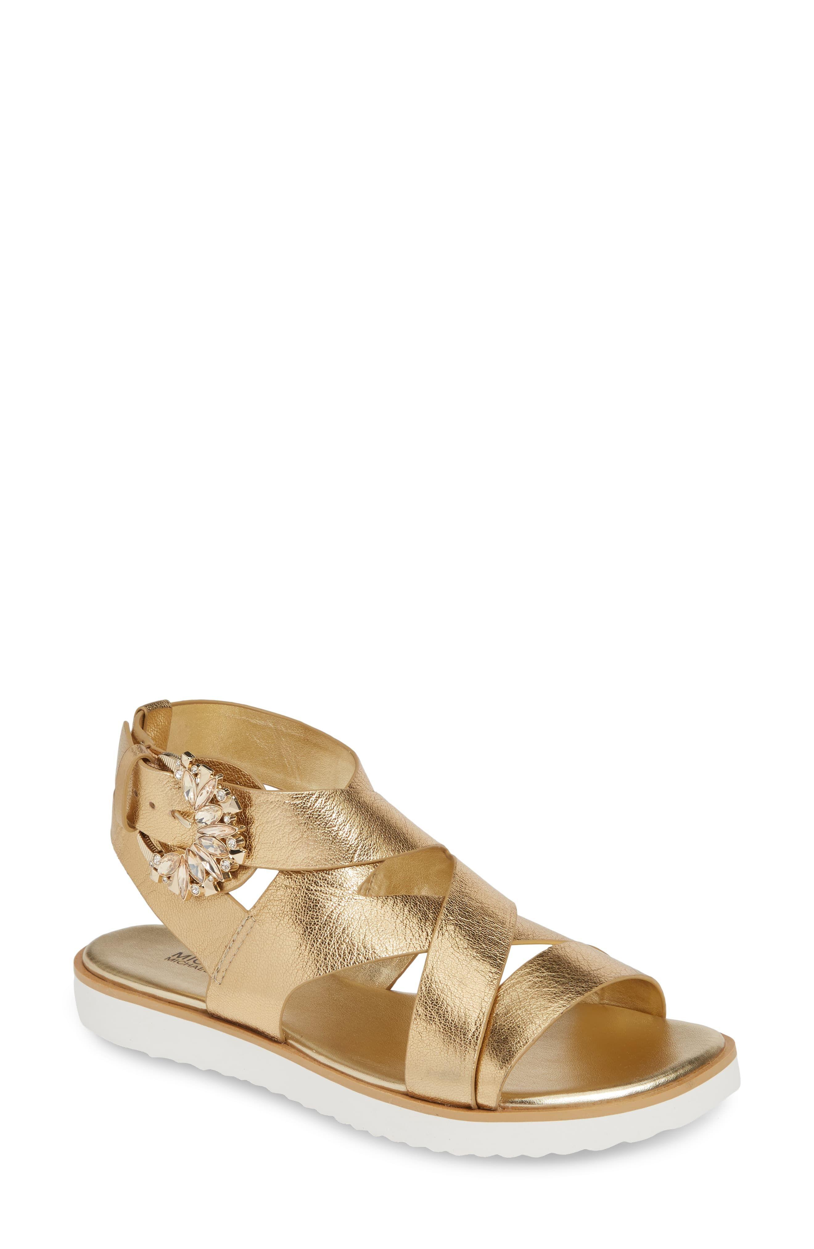 MICHAEL Michael Kors Frieda Strappy Flat Sandal (Women | Toe