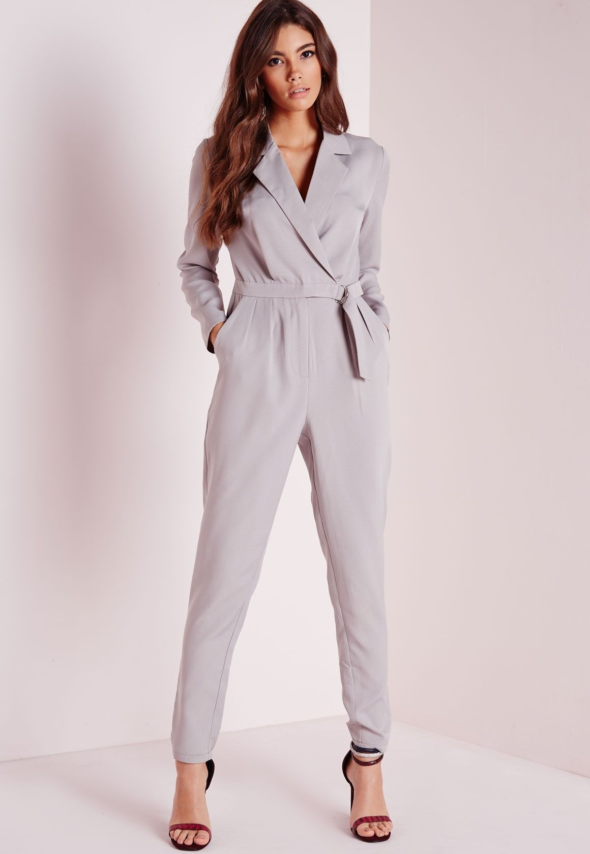 e6254f76b Missguided - Long Sleeve D Ring Jumpsuit Grey | outfits | Jumpsuit ...