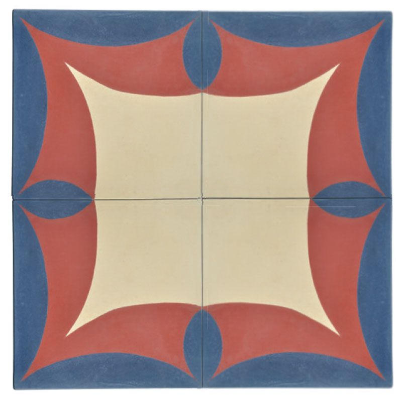 Creme, vermelho e azul tingem os quadrados (20 x 20 cm) que compõem o modelo 05b. Cada peça é encontrada por 7 reais na Piastrella Ladrilhos.