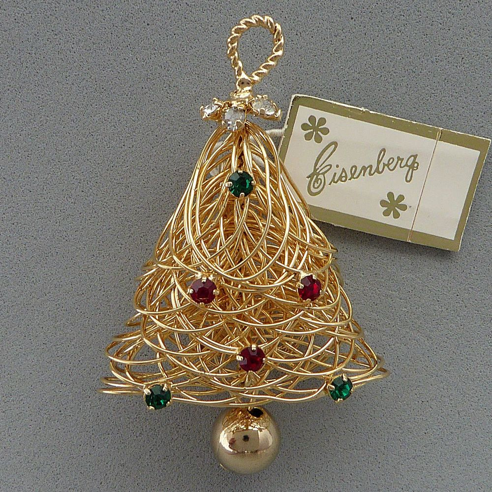 VINTAGE 60'S EISENBERG CHRISTMAS BELL RHINESTONE WIRE PIN BROOCH NEW WITH TAG #Eisenberg Z