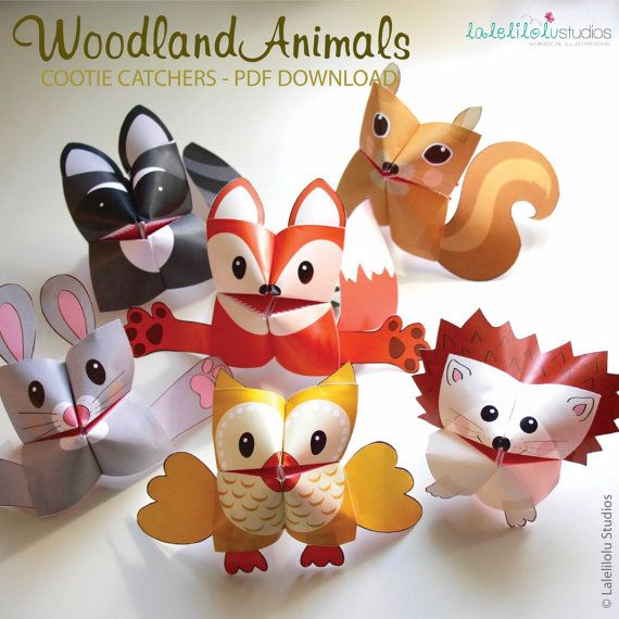 PRINTABLE FOREST Animals Cootie Catchers | PDF download | Woodland animals, origami for kids, simple play, fortune tellers