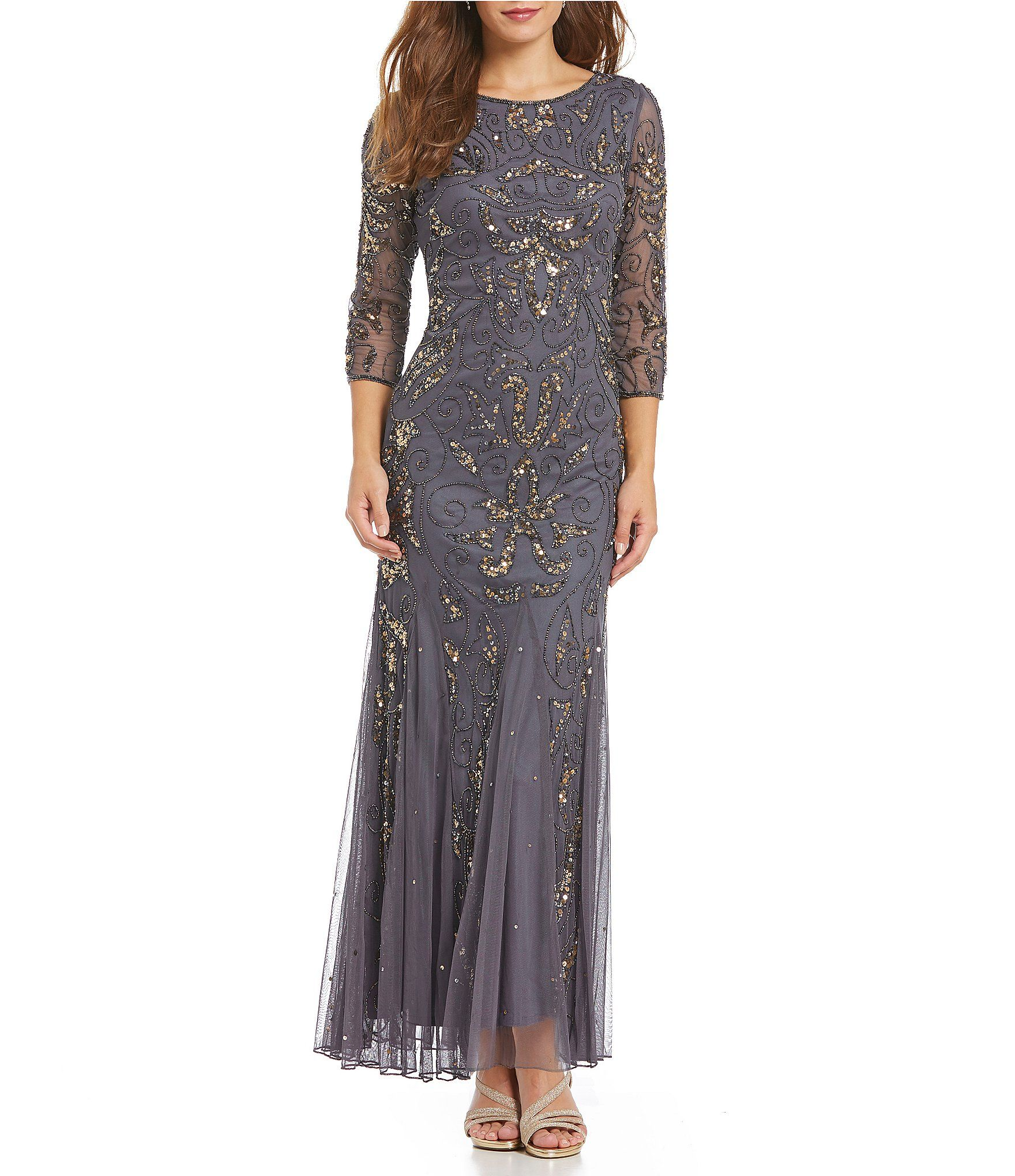 Pisarro Nights 3/4 Sleeve Beaded Gown | Dillards, Gowns and Clothing ...