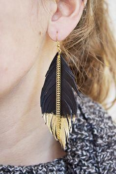 I'm crazy about the      I'm crazy about the mix of textures and contrast of these leather feather earrings!