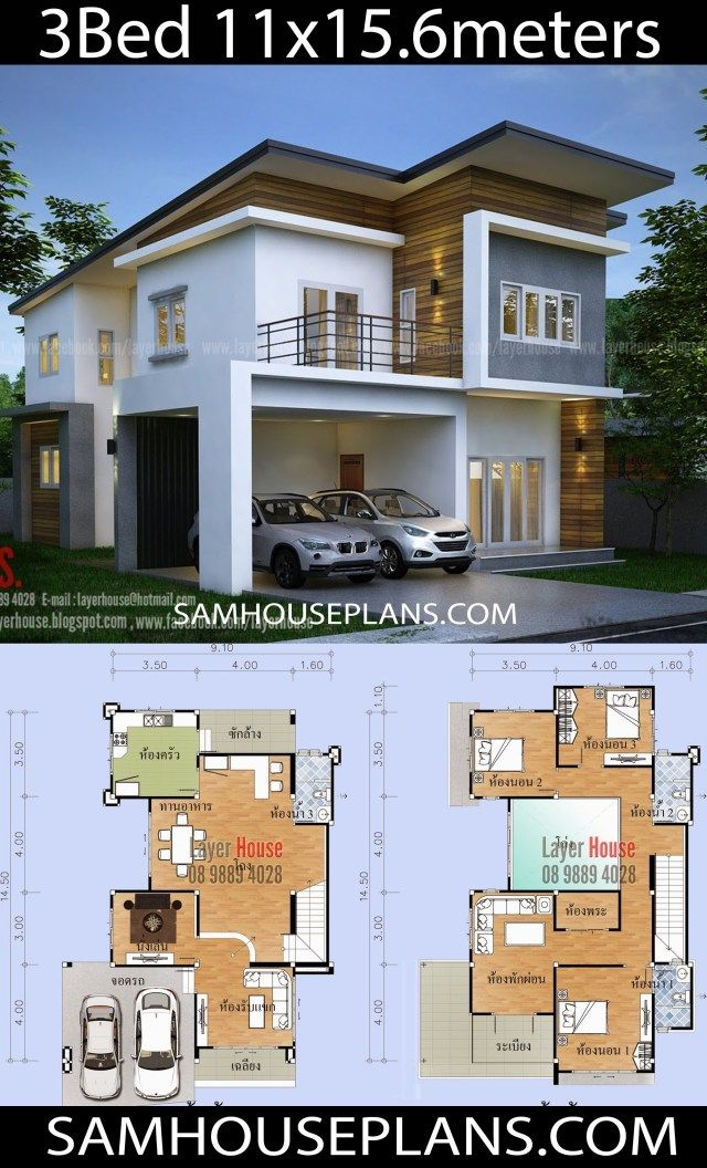 House Plans Idea 11x15 6m With 3 Bedrooms Sam House Plans House Plans Modern House Plans Architecture House