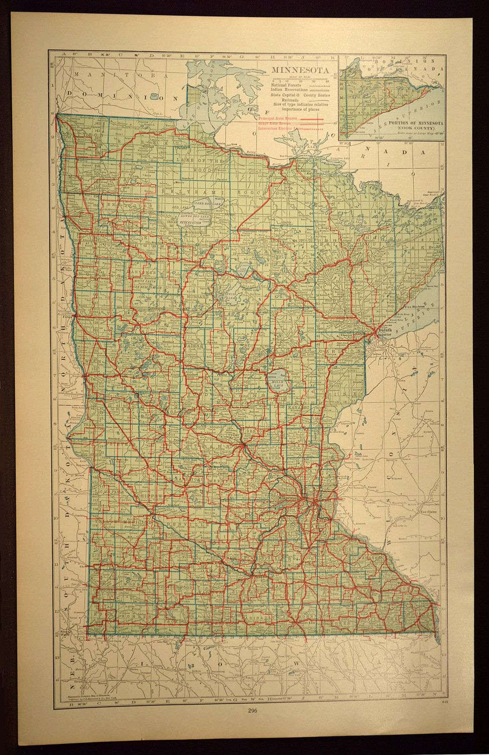 Minnesota Map of Minnesota Wall Decor Art Road Map LARGE ...