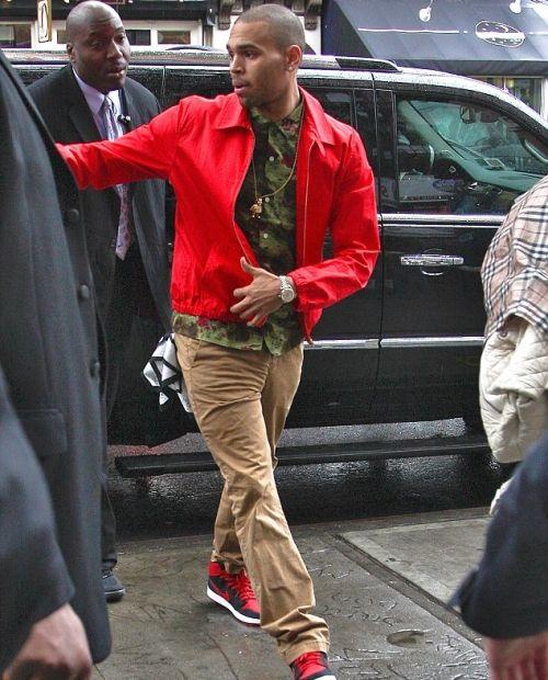 ccc0bcfe9ea Chris Brown Supreme Olive Hawaii Shirt and Retro AJKO Black and Red Nike  Air Jordan 1′s