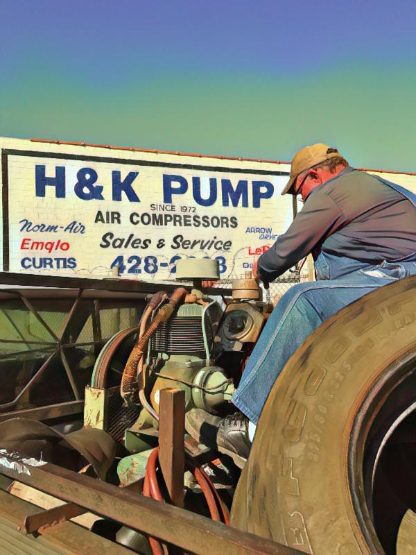 Mobile gas powered air compressor repair. CURTIS NXV