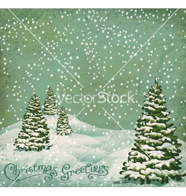 Vintage Postcard With Christmas Trees Snow Vector By Alkestida On Vectorstock Christmas Tree Images Vintage Postcard Snow Vector