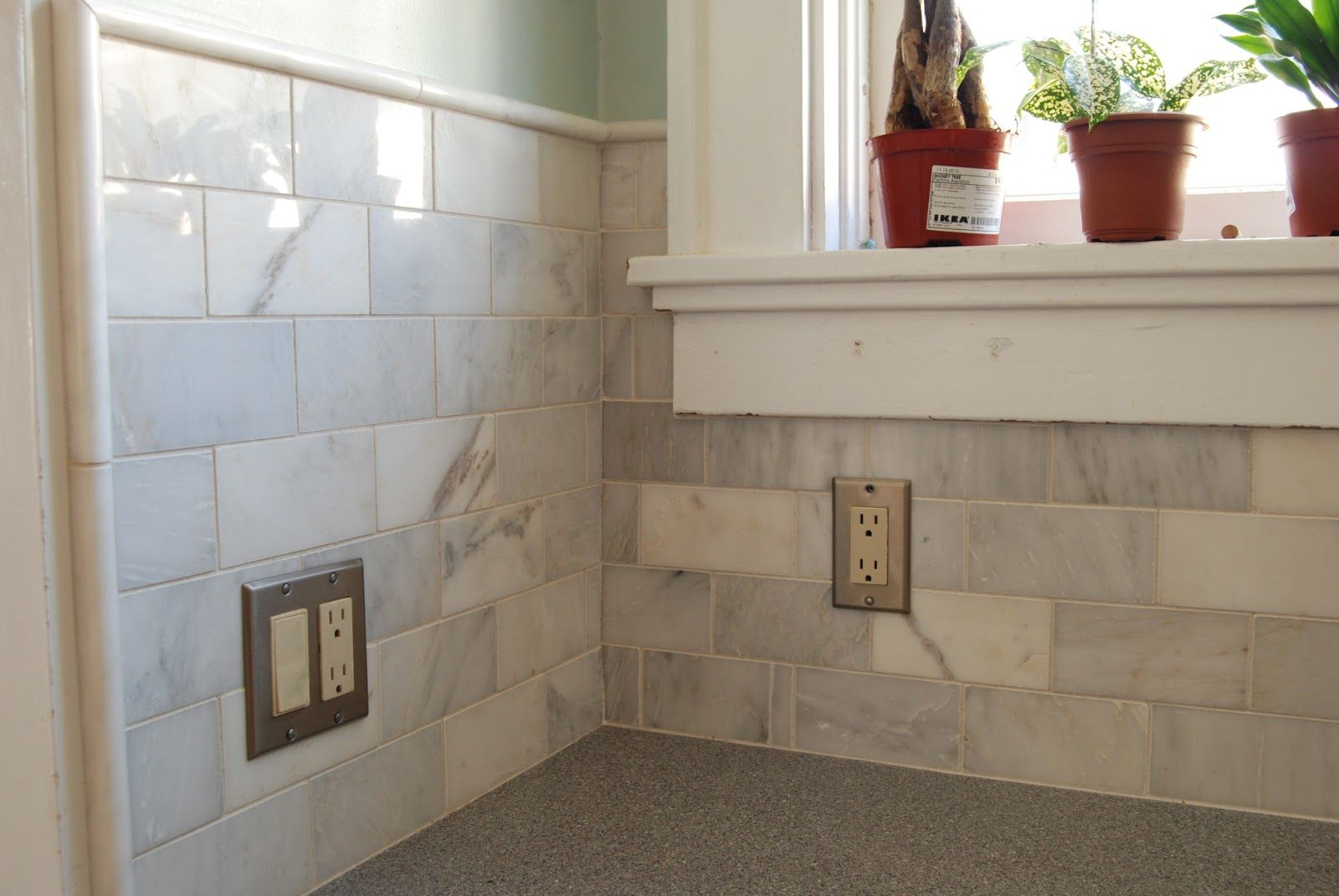 Closeup Of The Marble Subway Tile Backsplash In Stock At Home Depot