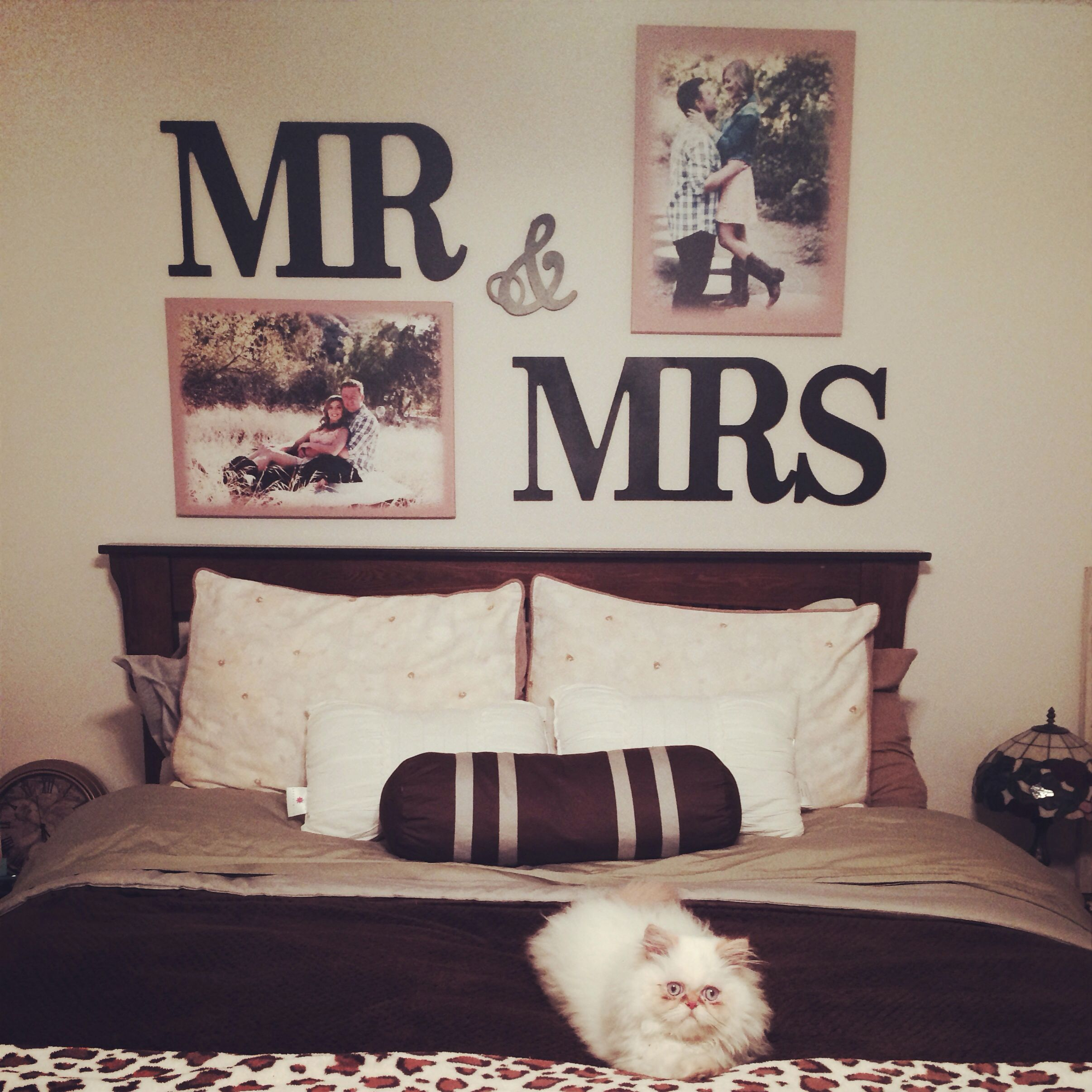 Mr mrs letters above my bed super easy and cheap got the letters from hobby lobby 24 for How to decorate your bedroom cheap