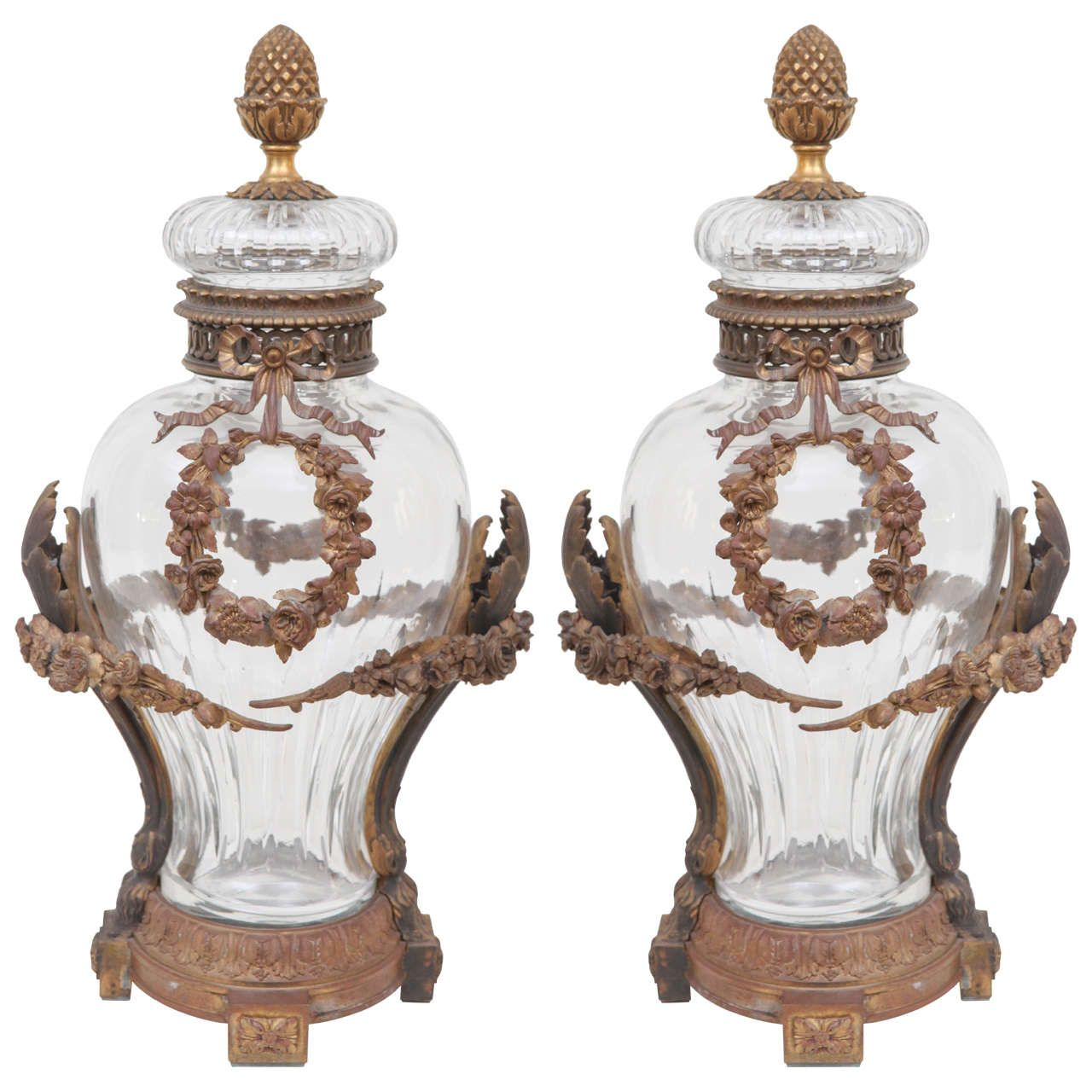 Pair of 19th Century Dore Bronze Mounted Baccarat Covered Crystal Vases