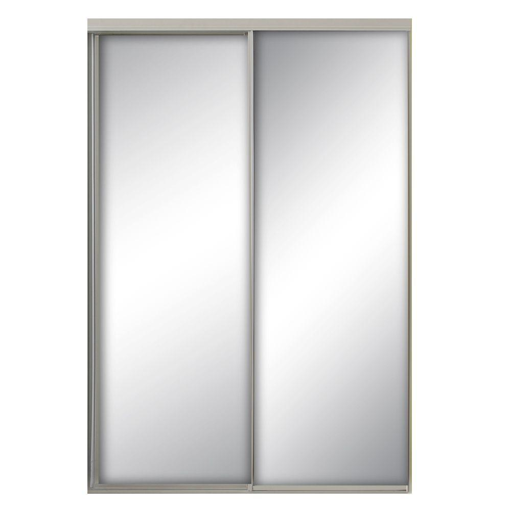 71 In X 80 5 In Savoy White Painted Steel Frame Mirrored Interior Sliding Door Sav 7180wh2r The Home De Sliding Doors Interior Mirror Interior White Mirror