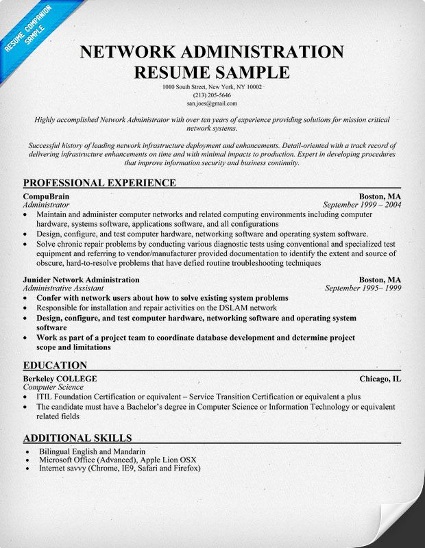 Network #Administration Resume Example (resumecompanion - network administrator resume