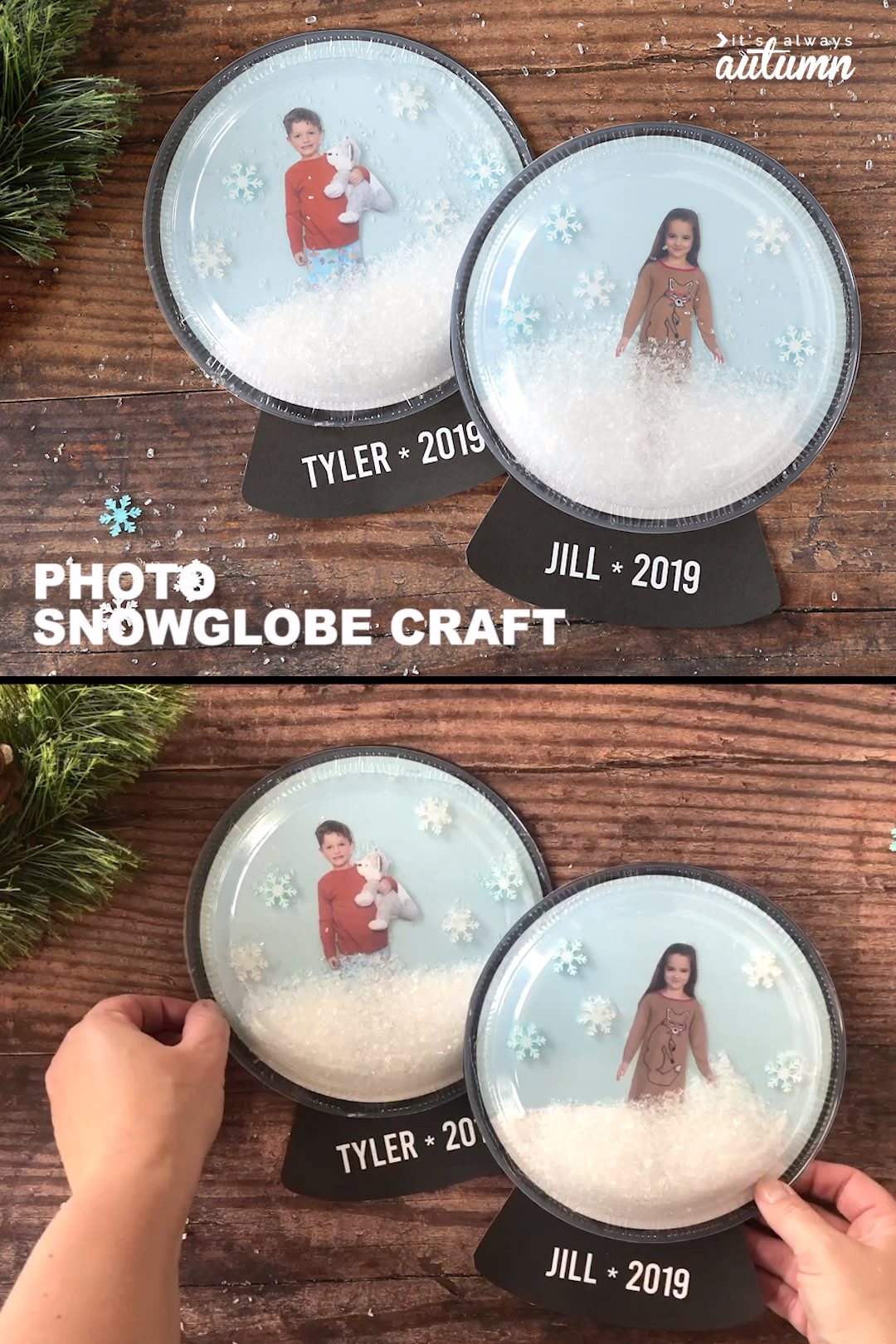 Let your kids put themselves inside a snowglobe with this adorable photo snowglobe craft! Cute Christmas craft for kids.