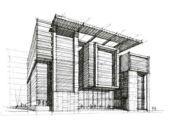 Haus Architektur Skizzieren Moderne Hauser Plastik Mappen Grafiken Zeichnungen Perspektiven Skizze Skizzen
