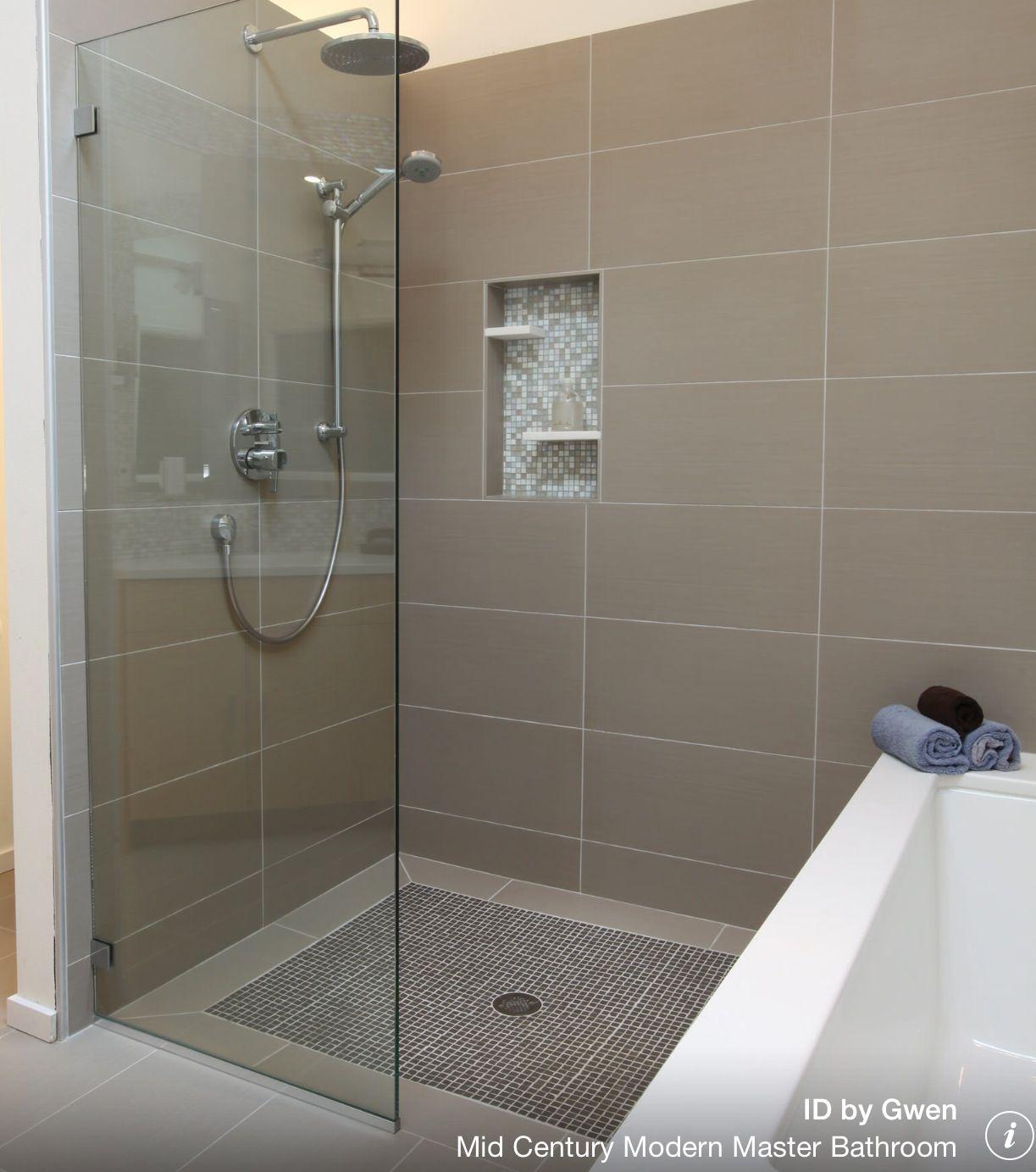 Zero Threshold Frameless Glass Shower Modern Master Bathroom