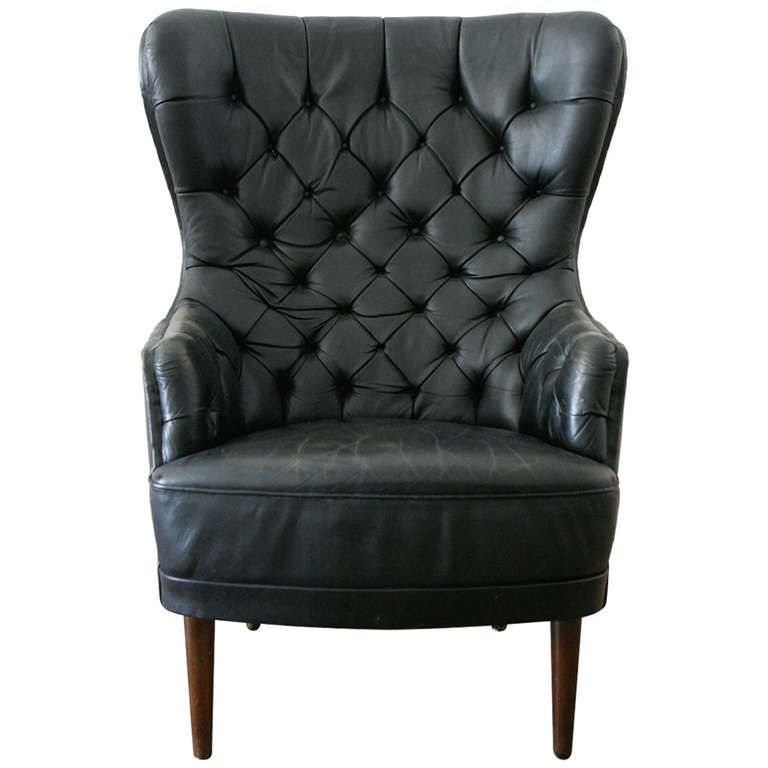 Delightful Tufted Leather High Back Chair , Denmark 1950 | From A Unique Collection Of  Antique And Modern Chairs At Http://www.1stdibs.com/furniture/seating/chairs /