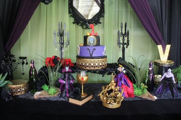 Disney Villain Theme Birthday Party Dessert Table