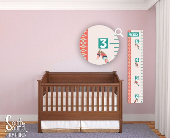 Growth chart for girls kids room wall decor feathers custom wall hanging childrens
