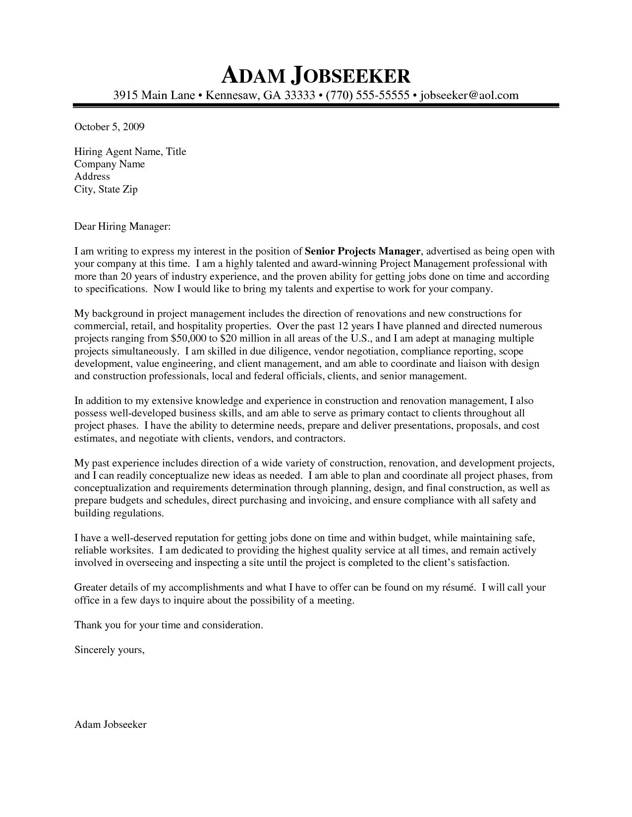 25+ Project Manager Cover Letter Project manager cover