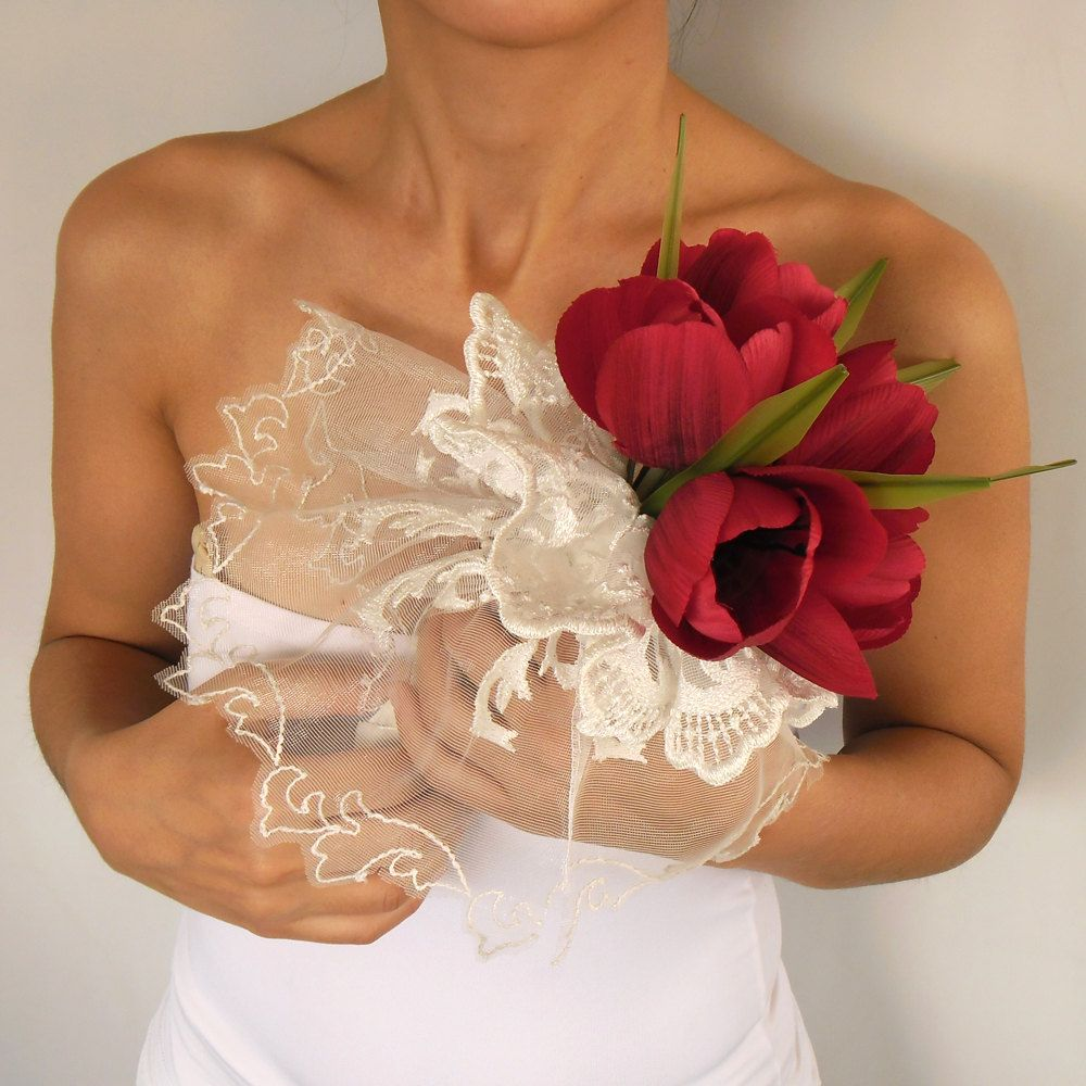 Red tulip bridal bouquet lace tulle frilled handmade wedding