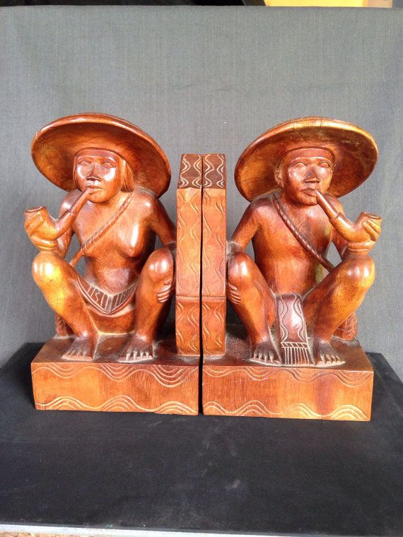 Vintage Ethnic Man Woman Wood Bookends by AlohaLavaVintage on Etsy