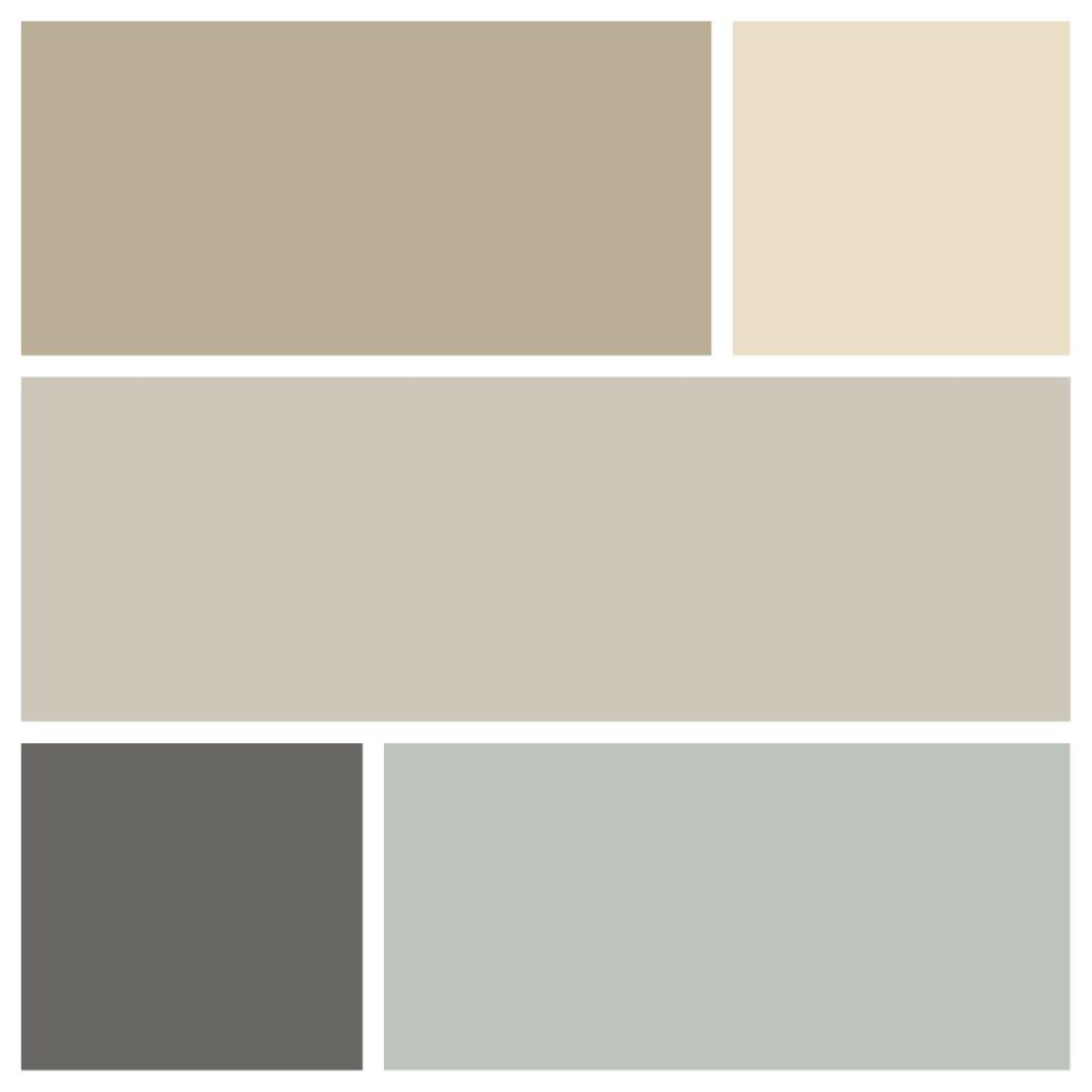 My first floor color palette l r from top row down sw for Creamy grey paint color