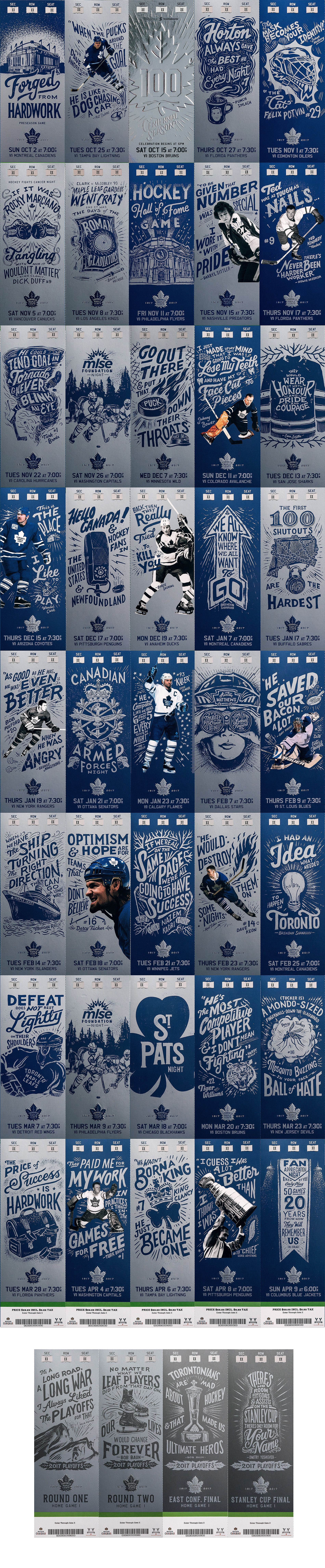 With the 100th anniversary of the Toronto Maple Leafs approaching – a feat only reached by a select few – we needed a ticket package worthy of the occasion; a keepsake that could embody this landmark season. Drawing inspiration from retro illustrated post…
