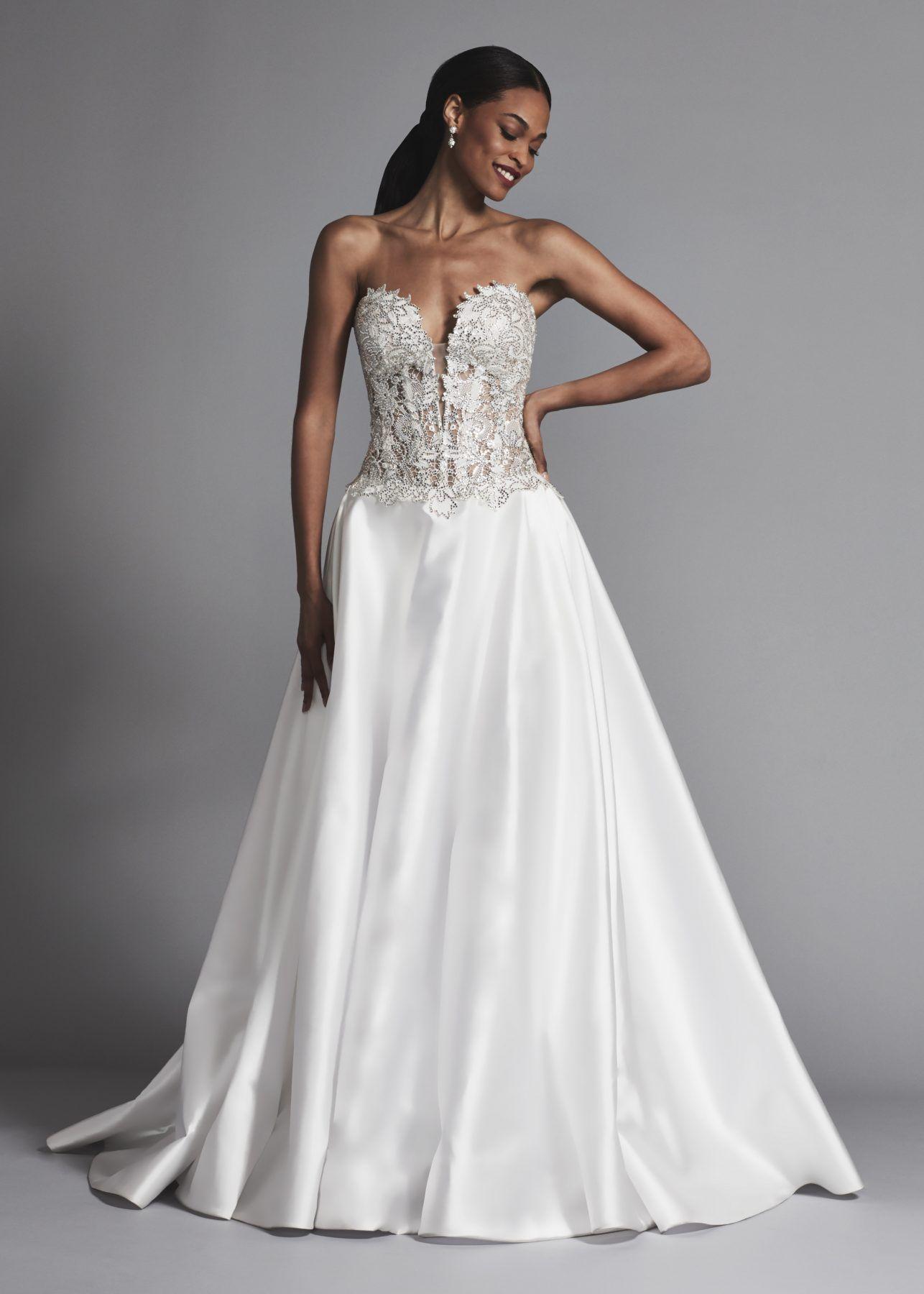 Strapless sweetheart beaded bodice aline wedding dress love by