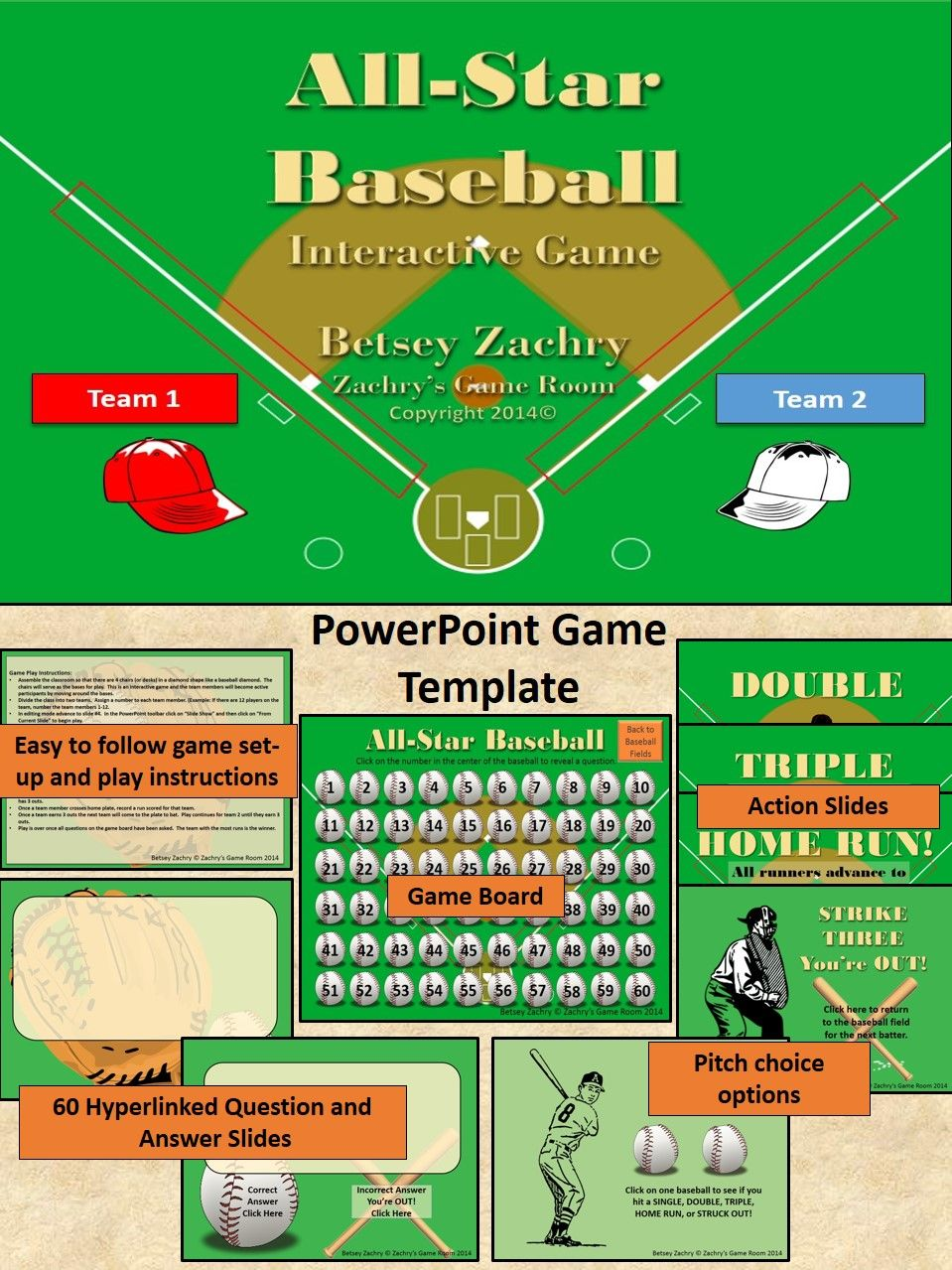 Game Template All Star Baseball Interactive Powerpoint School