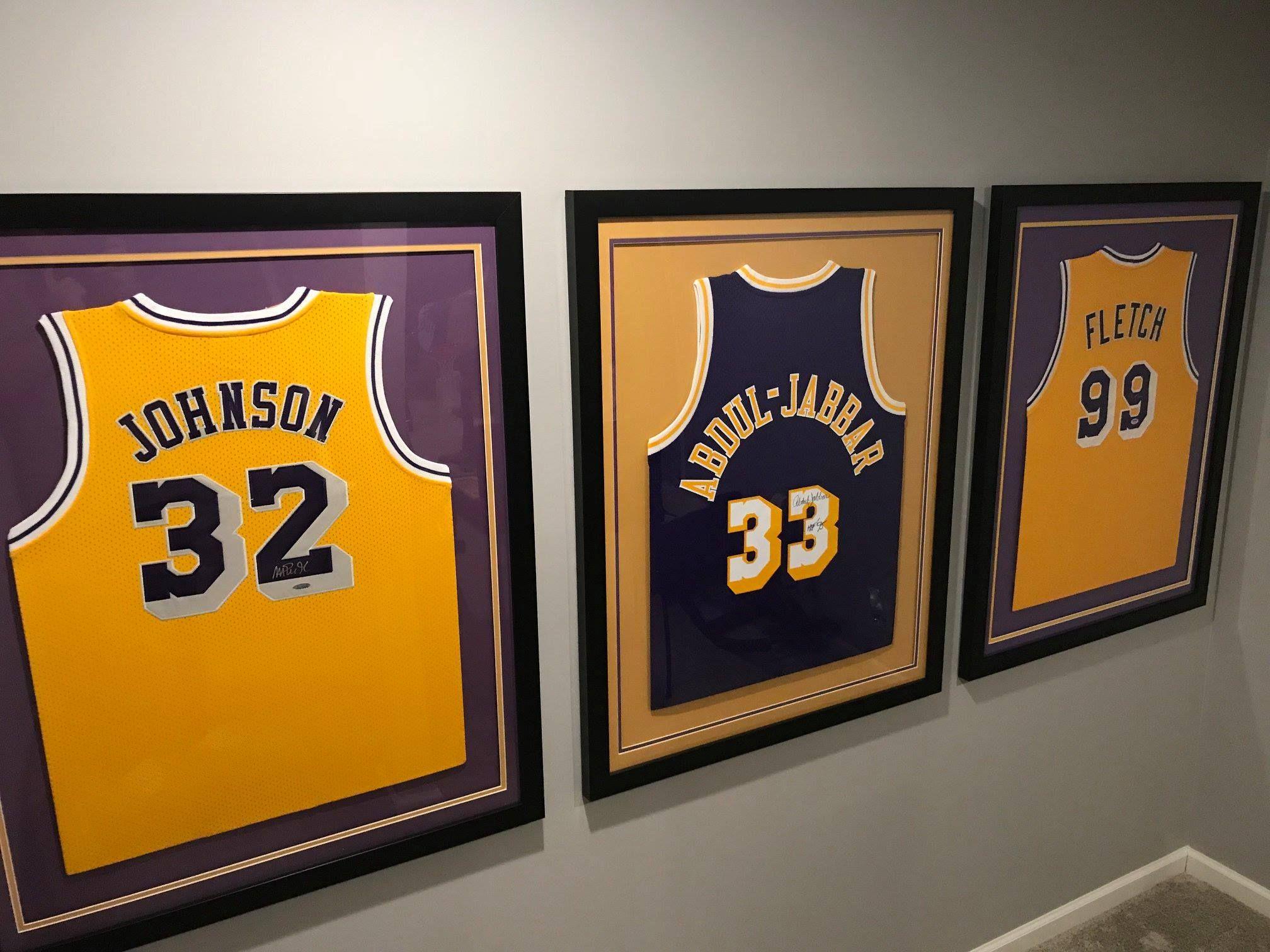 18c37c6ad  MagicJohnson  KareemAbdulJabbar  Fletch  Magic  Kareem  Lakers  LALakers   LosAngeles  NBA  framedjersey  jerseyframing