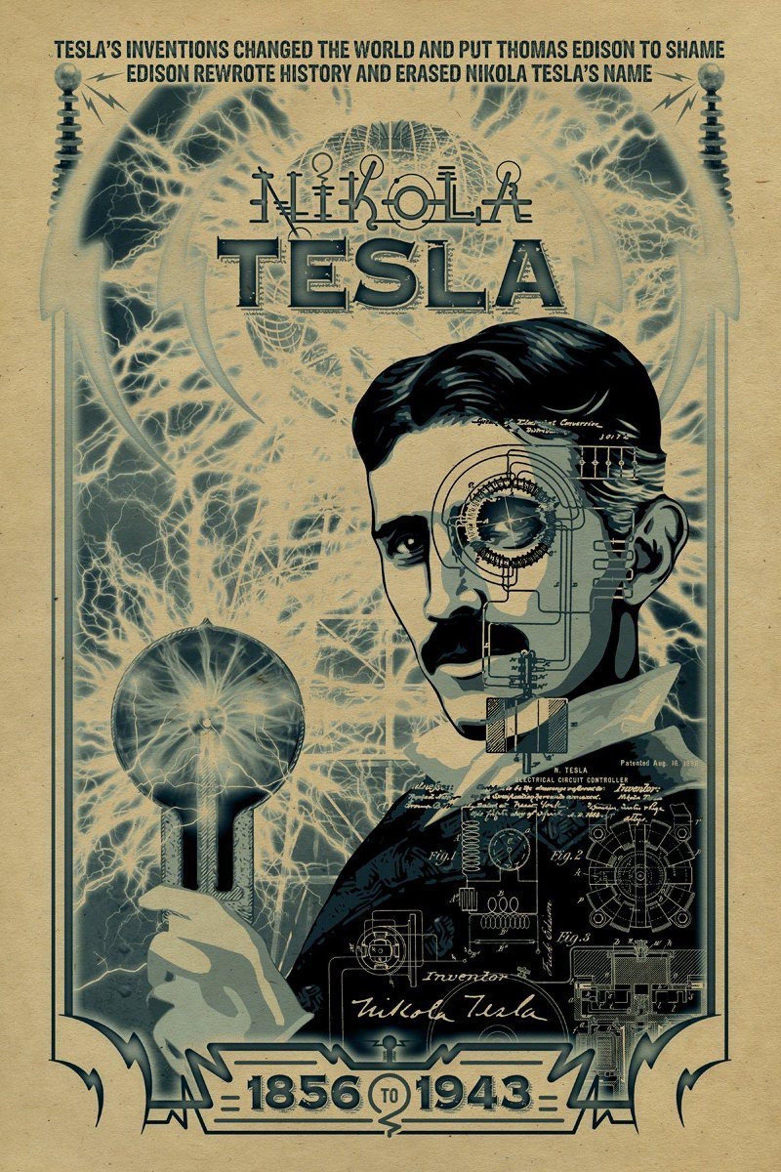Nikola Tesla Poster 12x18 Inventor Thomas Edison Etsy Nikola Tesla Tesla Historical Art