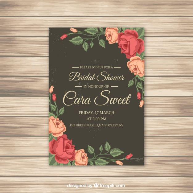 More than a million free vectors psd photos and free icons bridal shower invitation with roses free vector stopboris Image collections