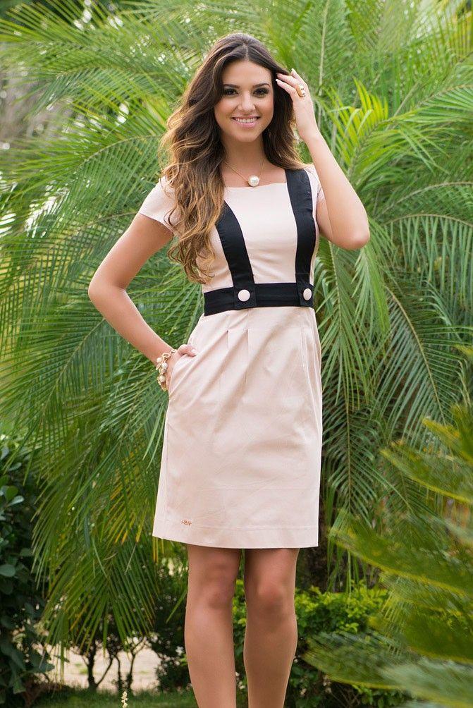 Vestido em cotton satin com detalhes em duas cores   Moda   Pinterest