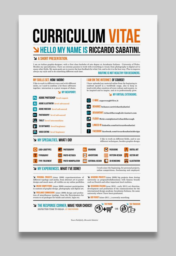 Ricardo Sabatini Creative Cv  Cv  Cover Letter