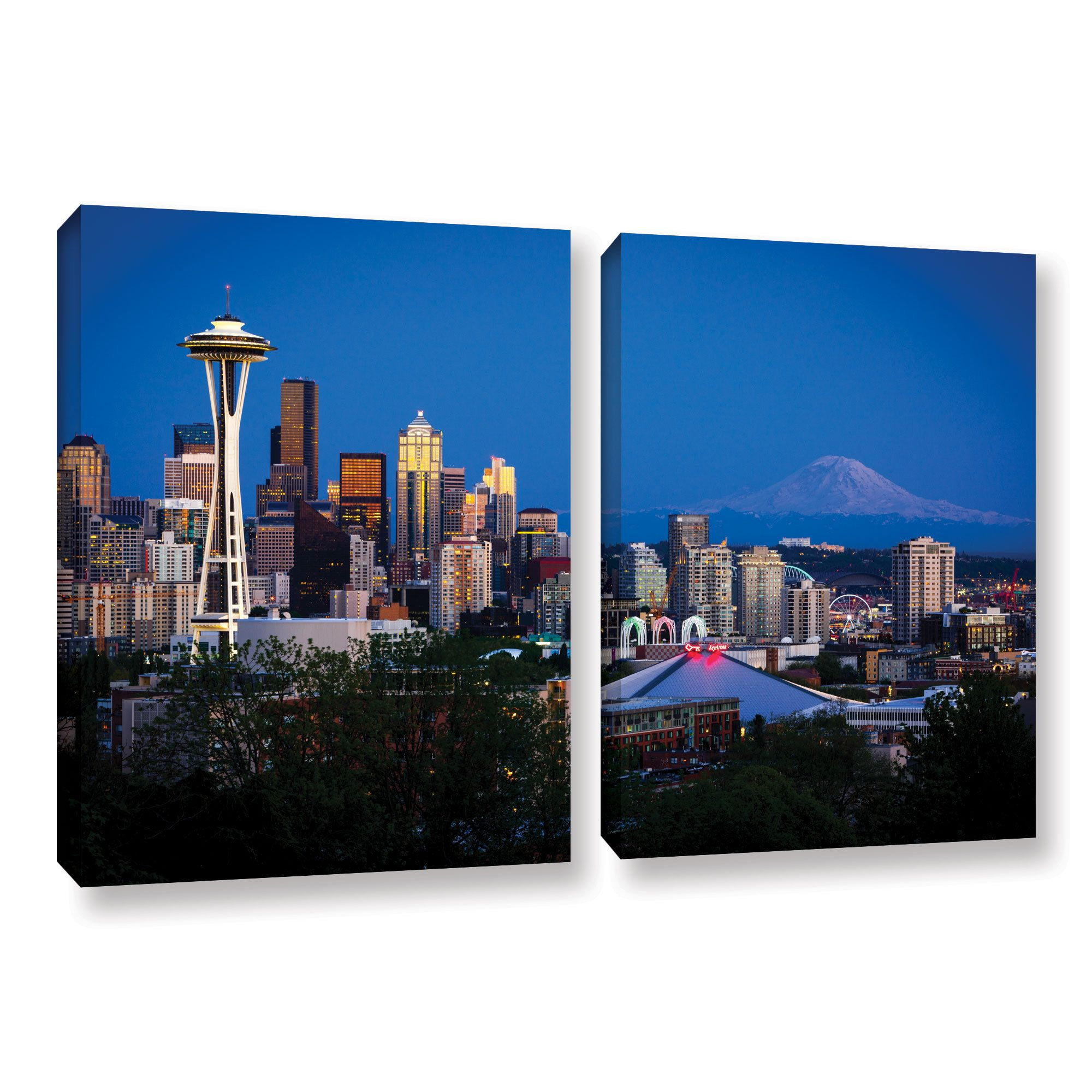 ArtWall Cody York's Seattle and Mt. Rainier, 2 Piece Gallery Wrapped Set