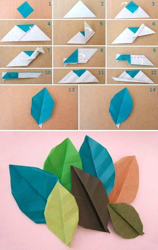 Membuat Hiasan Dinding Dari Kertas Origami Motif Daun Dengan