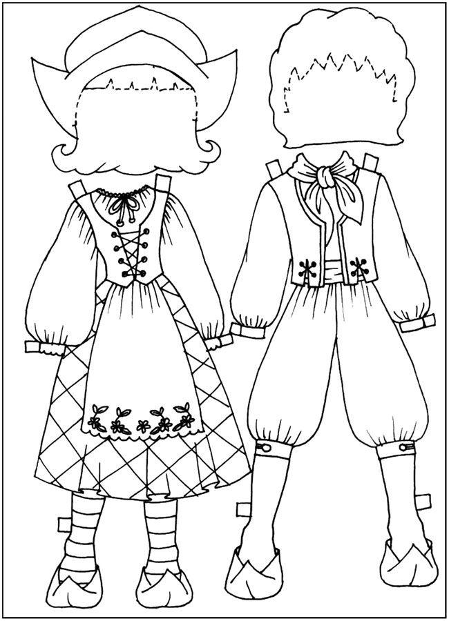 раскрашки Куклы-вырезалки, костюмы французских крестьян ...