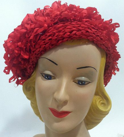 Lipstick Red Loop Ribbon Slouch Beret circa 1960s - Dorothea's Closet Vintage