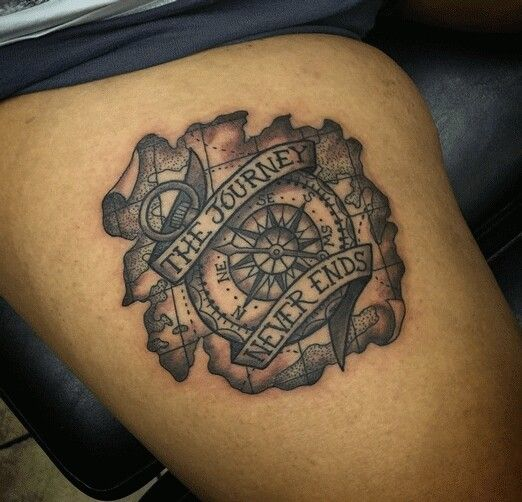 The Journey Never Ends Compass Tattoo Design Tattoo Designs Globe Tattoos