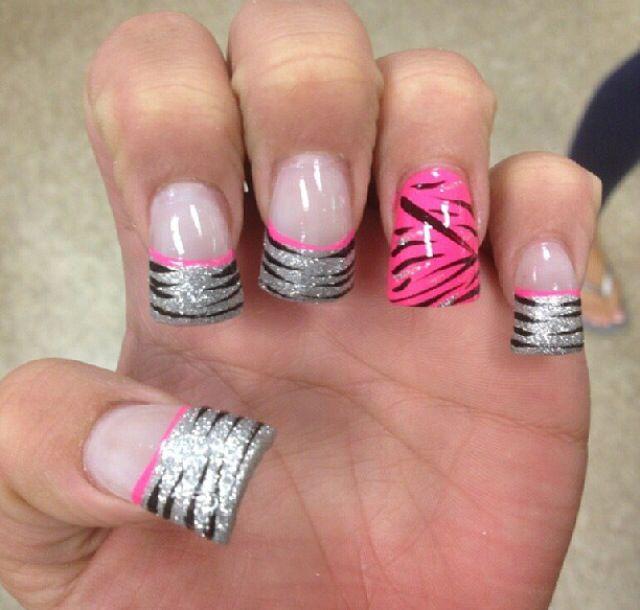 Pink Glitter Zebra Nail Designs Nails Pinterest Zebra Nail