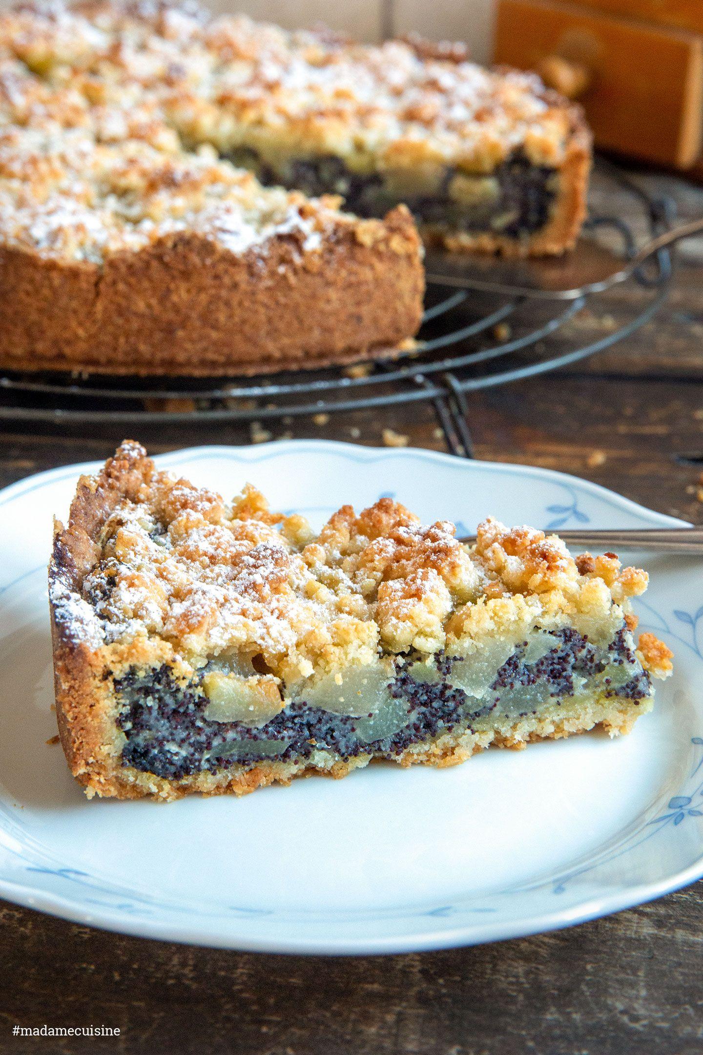 Mohn-Streuselkuchen mit Birne - Madame Cuisine