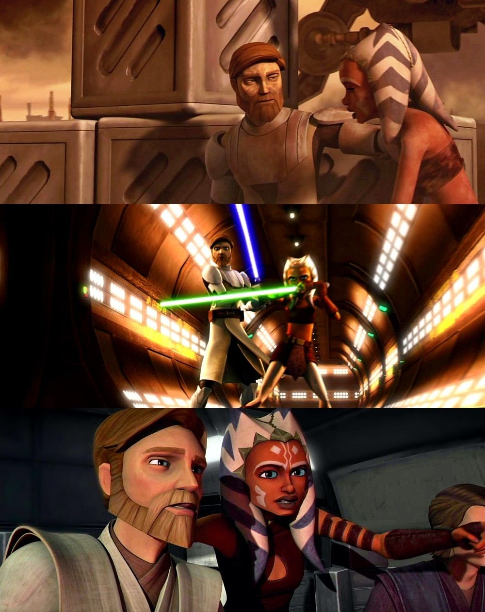 The top picture is so cute  Ahsoka was like a daughter to