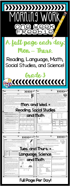Morning Work for 3rd Grade: Free Week | 3rd Grade Print and