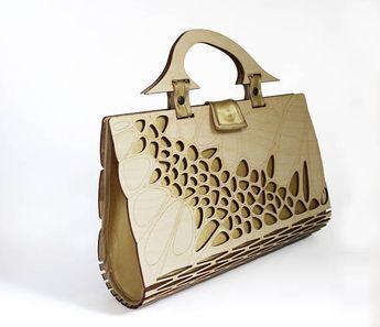 Wooden Handbag Clutch Bag Plywood Fashion Women