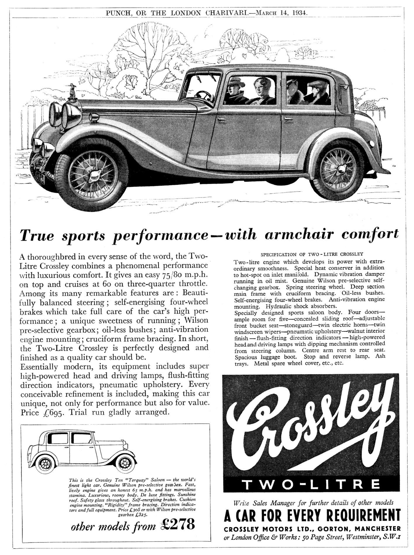 1934. Crossley Two-Litre advert | Classic Cars | Pinterest