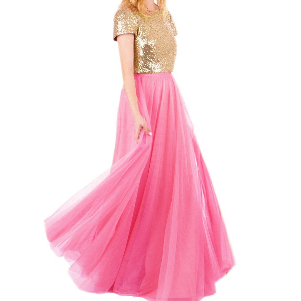 Gold Sequins Top Long Tulle Prom Dresses 2017 Two Piece Party ...