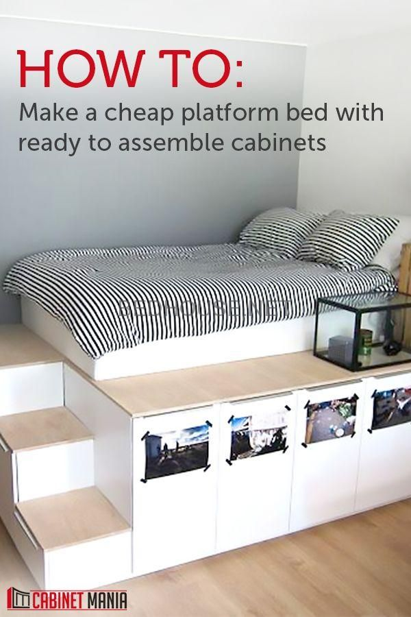 Get A Novel Look And Additional Storage If You Construct This Simple And Inexpensive Plat Storage Furniture Bedroom Cheap Platform Beds Bedroom Diy