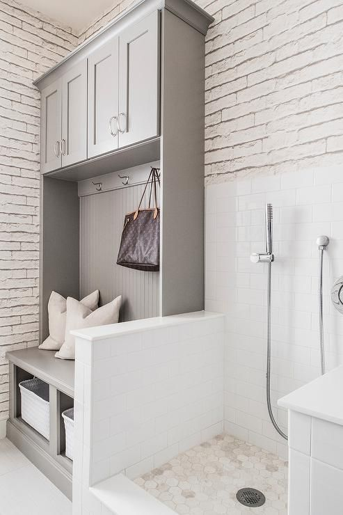 White And Gray Dog Friendly Mudroom Mudroom Laundry Room Laundry Room Design Dog Washing Station
